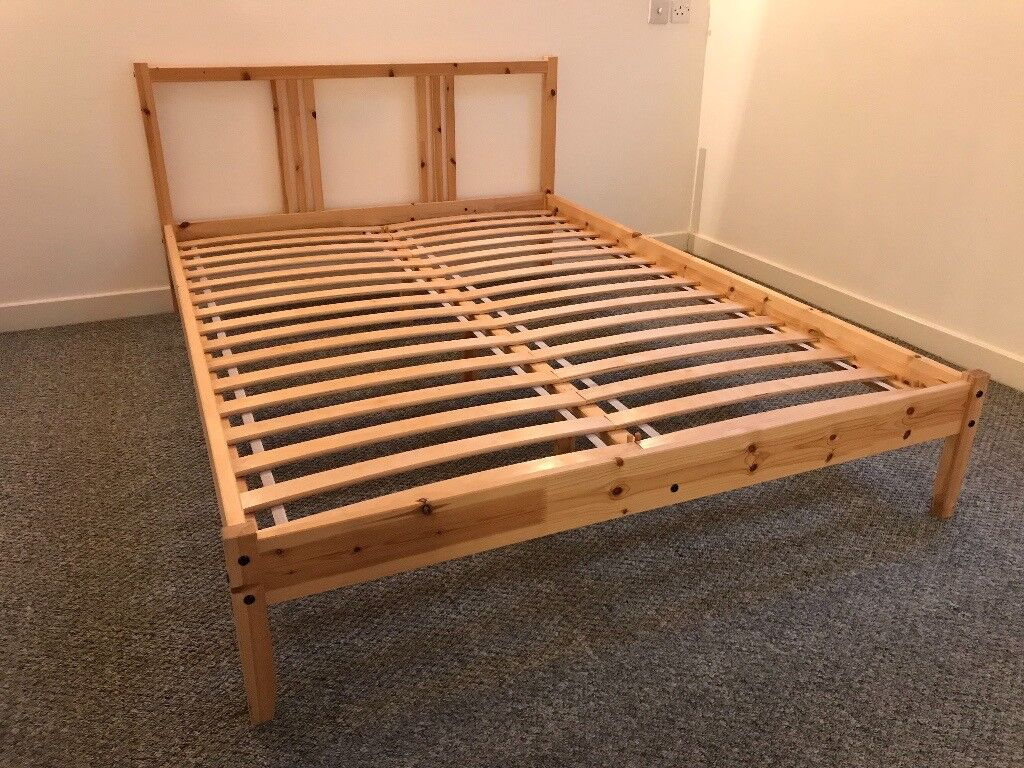 Wooden Pine Double Bed Frame Ikea Fjellse