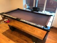 Slate bed English pool table w/ custom mirror finish