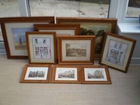 9 Wooden Framed Pictures of various sizes and scenes