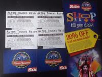 4 Alton towers tickets, 1st October 2017