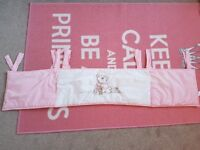 Pink amd white cot bumper. Freshly washed (non-bio) £3 as need gone. STOTFOLD smoke/pet free home