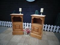 SOLID PINE FARMHOUSE PAIR OF BEDSIDE CABINETS PROPER CHUNKY ONES BOTH IN EXCELLENT CONDITION