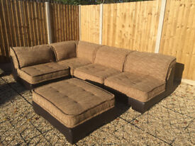 DFS Brown leather and fabric Corner Sofa - Previous sale fell through! Reduced as need gone ASAP!!