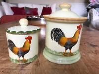 Moorland Pottery Cockerel Sugar/Jam/Preserve Pot & Storage Jar