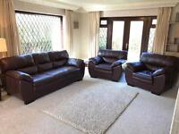 Dfs New Force Brown Leather 3 Piece Sofa Suite New Condition 3 Months Old