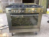 DeLonghi Gas Range Cooker, 90 stainless steel, duel fuel