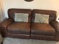 Chocolate real leather, electric recliner 3 seater sofa
