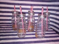 24 Novelty Milk Bottles / Drinking Bottles with Straws