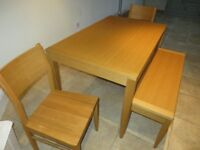 John Lewis - Solid Oak, Kitchen / Dining Room Table and Chairs