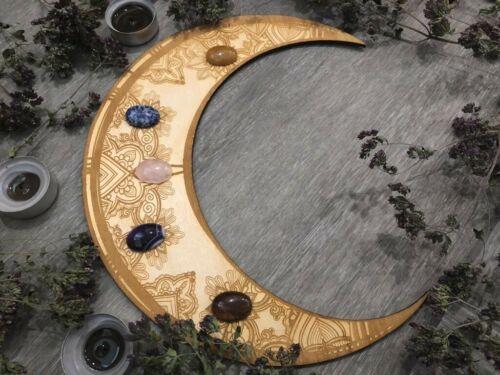 Lunar chakras crystal grid from wood, altar board for meditation, sacred space