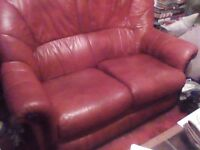 Leather 3 peice sweet 2 chair as new hardly yoused