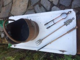 Brass Coal Bucket, Poker, Fork and Tongs. £15 ono