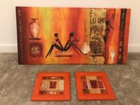 Wall art 1 canvas & 2 matching wooden pictures