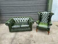Superb green leather chesterfield wingback chair and 2 seater sofa Uk delivery