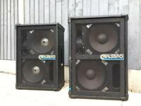 Pair of Carlsbro 150 Watt Speakers with stands