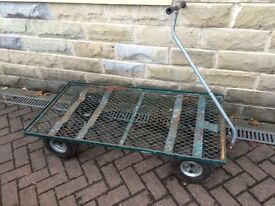 FLATBED CART/HAND TRUCK HAND PULLED WITH STEERING IDEAL FOR GARDEN OR WORKSHOP