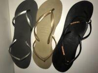 Havainias 3 pairs black gold silver size 4