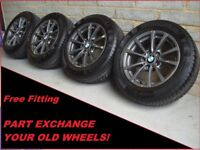 """2282 Genuine 16"""" BMW 390 4 3 Series F30 Alloy Wheels & Winter Continental Tyres"""