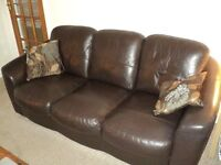 DARK BROWN LEATHER 3 PIECE SUITE