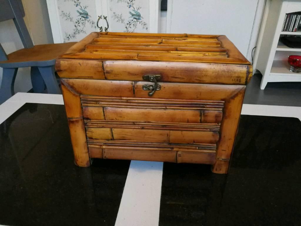 Vintage bamboo storage box.