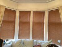4 brown venetian metal blinds