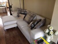 Handmade Bespoke Three Seater Sofa in White Suede Style Finish