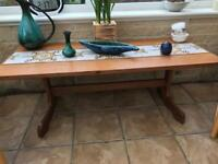 Beautiful period solid coffee / side table with tiled middle insert