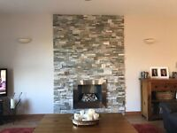 REAL STONE WALLCLAD (RANGE OF COLOURS, EASY TO INSTALL) CAN BE USED INTERNALLY OR EXTERNALLY