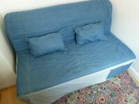 Blue Denim Ikea Lycksele Double Sofa Bed Settee Futon Couch Daybed possible delivery