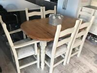 Pine/cream extendable dining table with 6 crushed velvet chairs