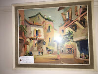 Lovely Vintage 1950s Original Framed & Glazed Print by D'oyly John 'Valbonne' France