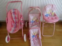 Dolls Pushchairs, Carrier and Highchair