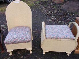 Lloyd loom chair and stool