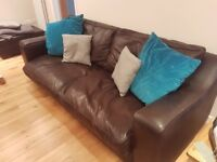 RAFT London Handmade Chocolate Brown Leather Sofa &Two Chairs
