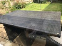 large patio table and 3 chairs