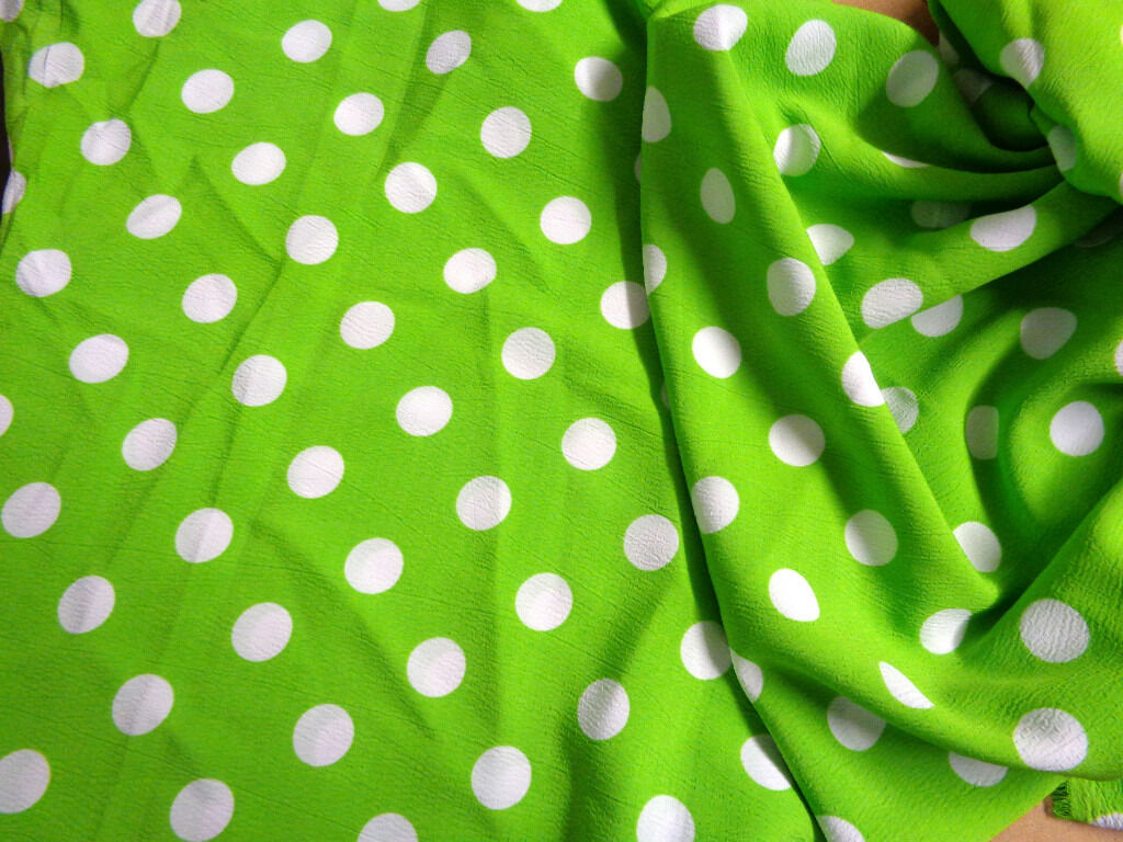 "Lime Green with 2cm White Polka Dots Fabric x 60"" wide"
