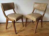 Benchair Vintage and Retro Off White Vinyl Dining Chairs