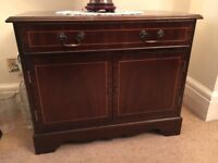 Mahogany Veneer Record Cabinet with drawer small storage unit vintage