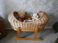 Wicker Cradle for Soft Toys - - £5 - - -