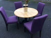 Round dining table and 4 dining chairs