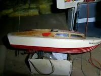 vintage model boat with few bits
