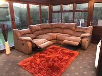 Harvey's Recliner Corner Sofa In Brown Suede Good Condition
