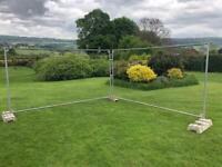 Two Heras Fence Panels & Three Feet