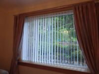 White vertical blinds. In excellent condition.