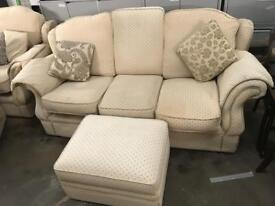 Three Piece Suite and footstool