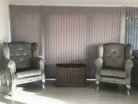 Chesterfield wing chairs silver crushed velvet sofa