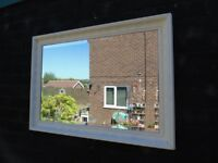 SOLID WOOD VINTAGE DESIGN WALL MIRROR PAINTED WITH LAURA ASHLEY CREAM COLOUR