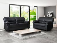 BRAND NEW KANDY LEATHER 3+2 SOFA BLACK OR BROWN + DELIVERY