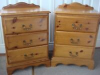 Pair Solid Pine Bedside Tables with 3 Drawers and brass handles