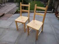 2 Solid Pine Chairs